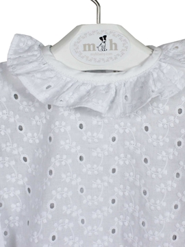 blouse white batiste embroidered