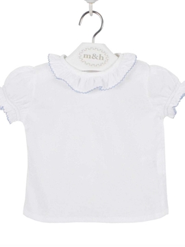 m&h baby short sleeve blouse batiste fabric. Blue stitch