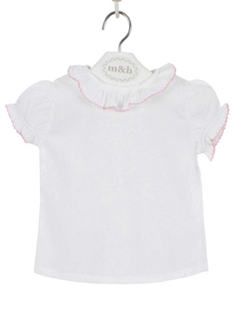 m&h baby blouse short sleeve batiste fabric. Pastel pink stitch
