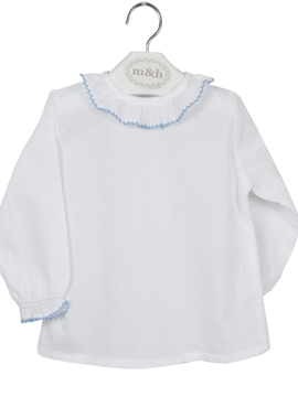 m&h baby blouse long sleeve batiste fabric. Blue stitch
