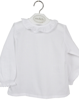m&h baby blouse long sleeve batiste fabric. White stitch