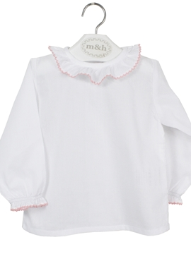m&h baby blouse long sleeve batiste fabric. Pink stitch
