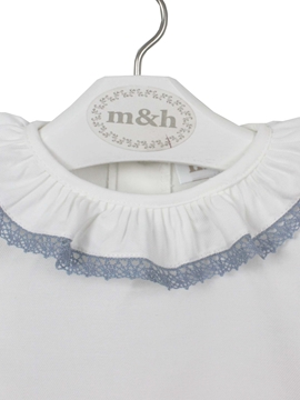 blouse off white medium blue stitch