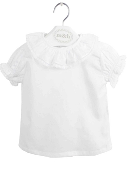 Seville baby blouse short sleeve batiste fabric. White lace