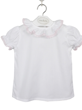 Seville baby blouse short sleeve batiste fabric. Pink lace