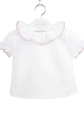 Seville baby blouse short sleeve batiste fabric. Pastel pink lace