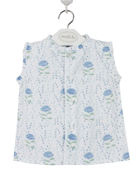 Sleeveless blouse. Blue Hydrangeas pattern