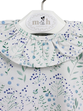 blouse blue green pattern