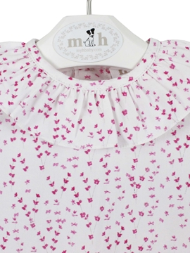 Pink flowers baby blouse
