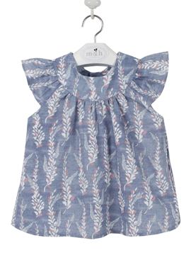 Girl blouse medium blue pattern