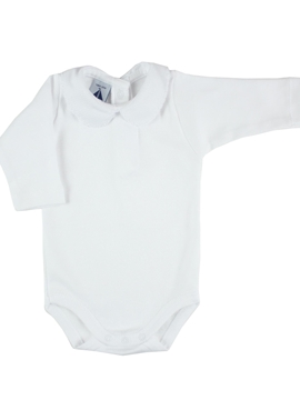 long sleeve bodysuit baby with Peter Pan piqué collar in white
