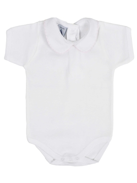 Short sleeve bodysuit baby Peter Pan collar with pink stitch