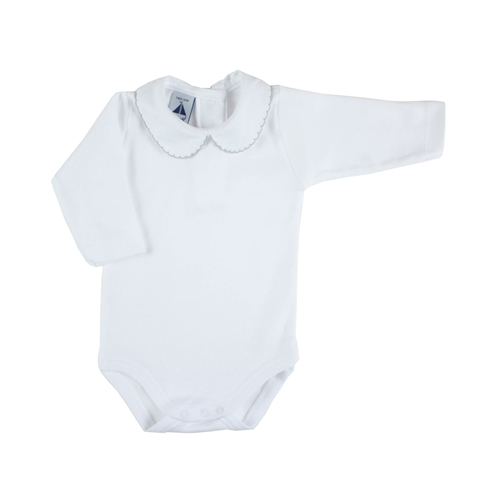 long sleeve bodysuit baby with Peter Pan piqué collar in grey