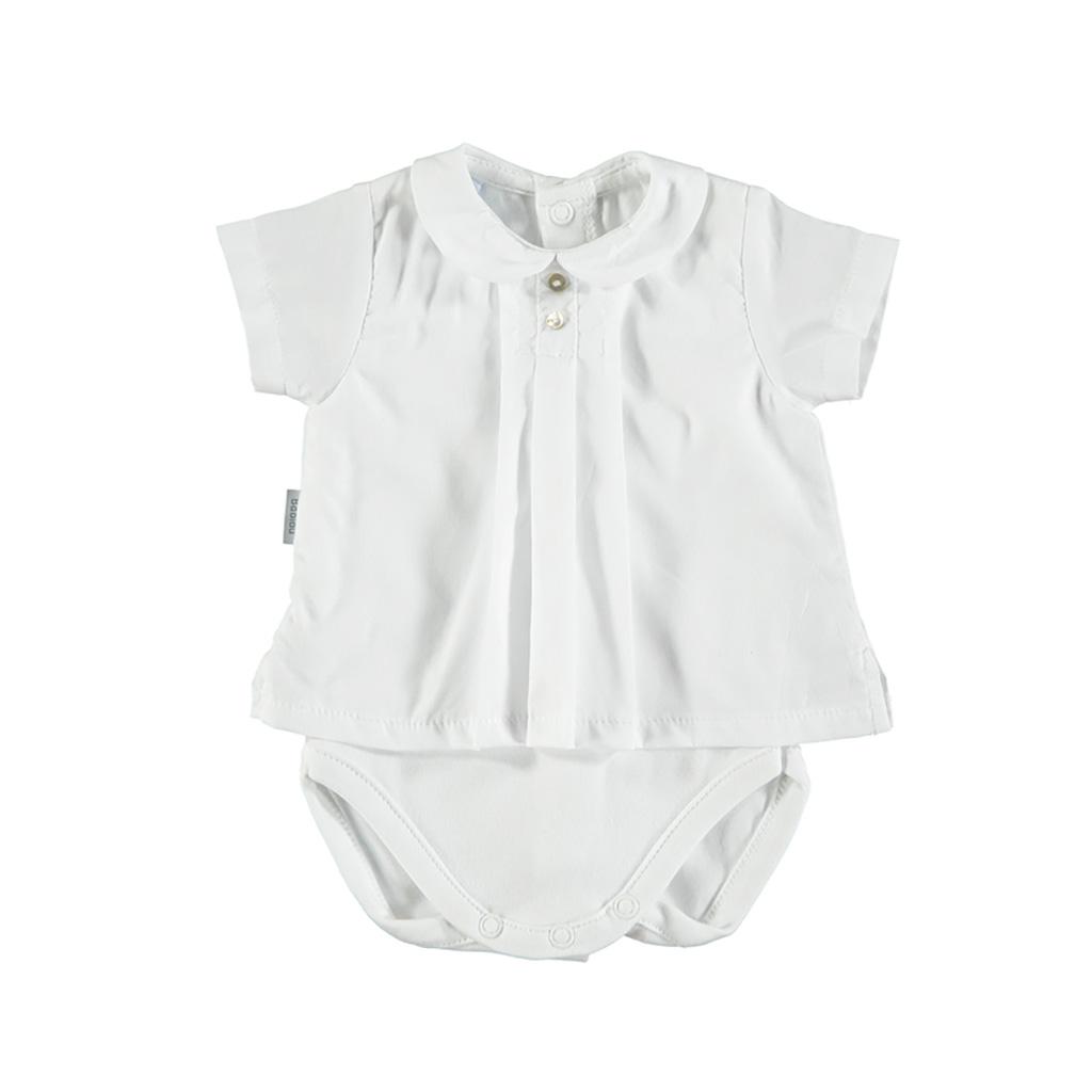 ea8bd6a2a Baby shirt bodysuit with Peter Pan collar