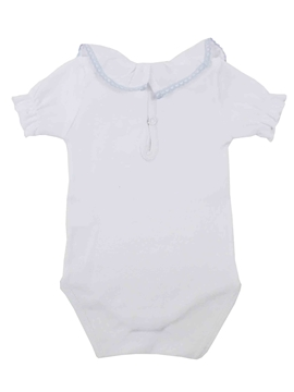 white blue stitch short sleeves bodysuit