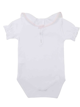 white pink stitch short sleeves bodysuit
