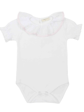 white pink short sleeves bodysuit