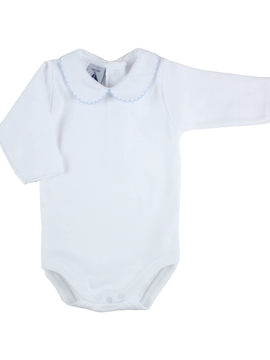 long sleeve bodysuit baby with Peter Pan blue collar by Babidú