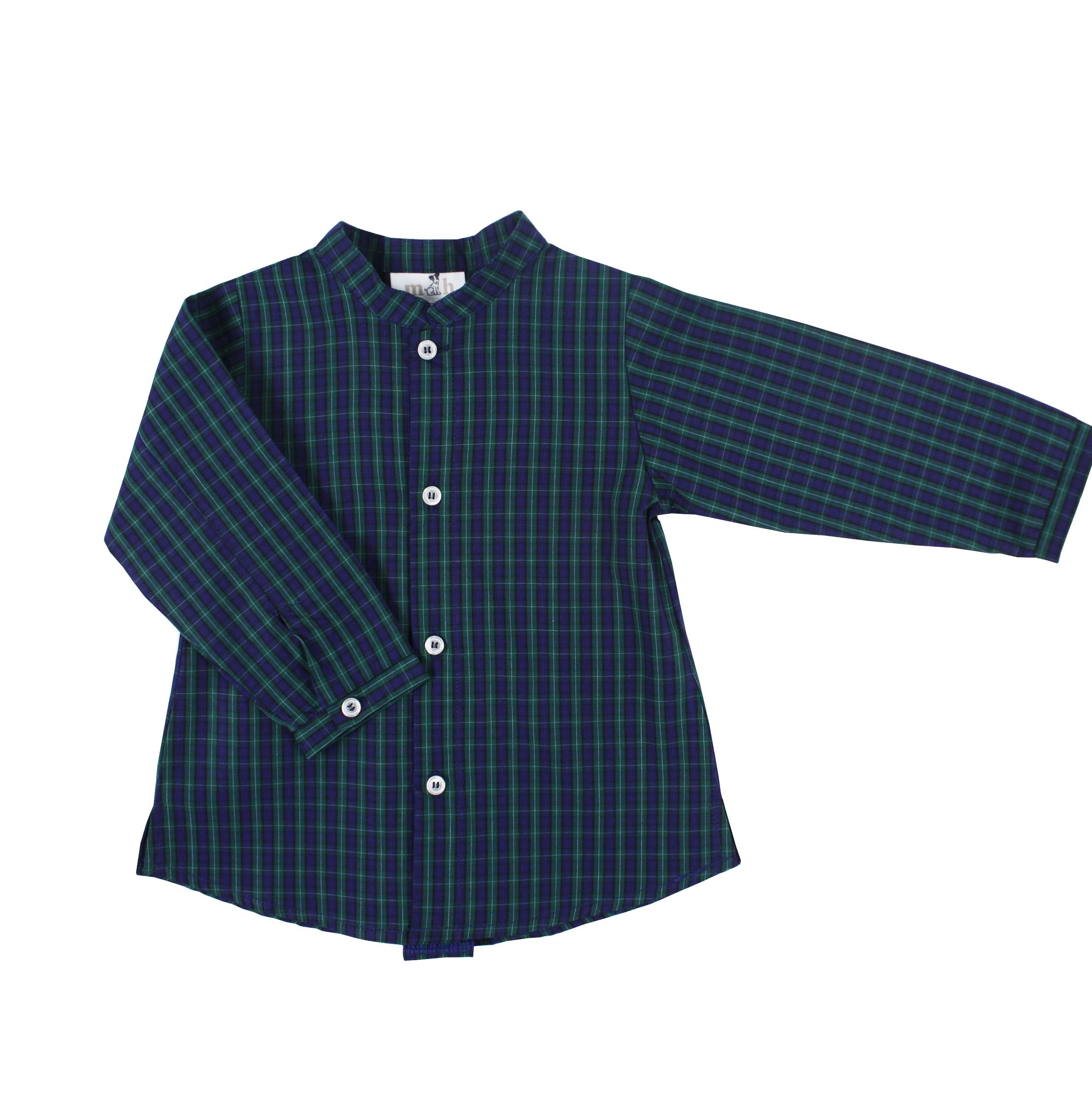 182db46e62 Camisa manga larga cuadro escocés verde y marino cuello mao. camisa niño  cuello mao escocés