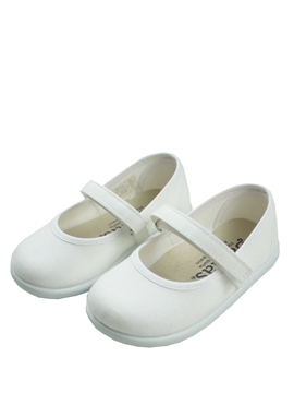 White Mary Jane canvas shoes