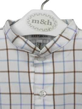 mao shirt blue and beige