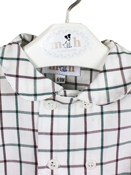 collar shirt brown green plaid