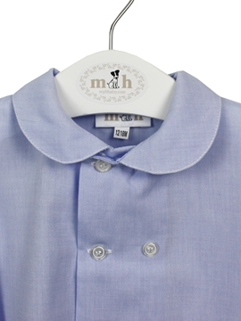 camisa cuello doble botonadura azul oxford
