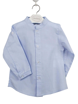 mao collar shirt in blue. Oxford