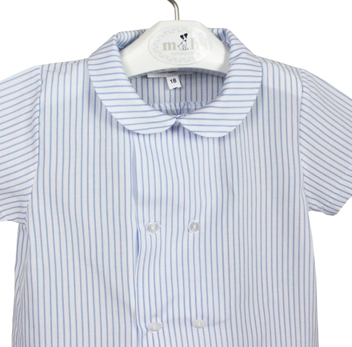 blue stripes shirt short sleeves