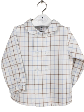 doible shirt blue beige