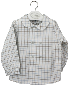Blue and sand plaid shirt long sleeve double buttoning