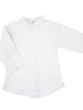 Long sleeve white shirt with Mao collar