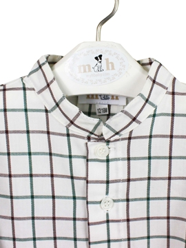 mao collar shirt brown green plaid