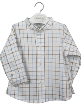 Mao shirt large plaid in sand and blue tone