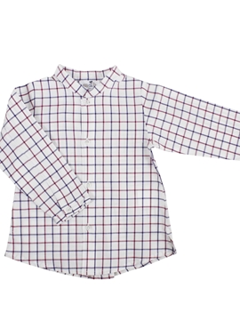 mao collar shirt plaid burgundy blue