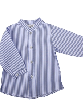mao collar shirt blue stripes
