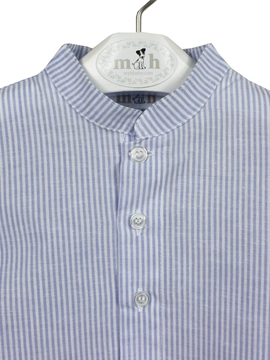 mao collar shirt blue stripes detail