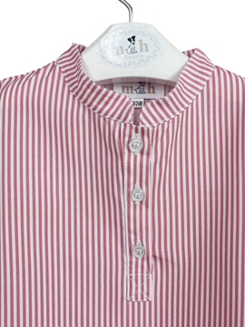 mao collar shirt red stripes