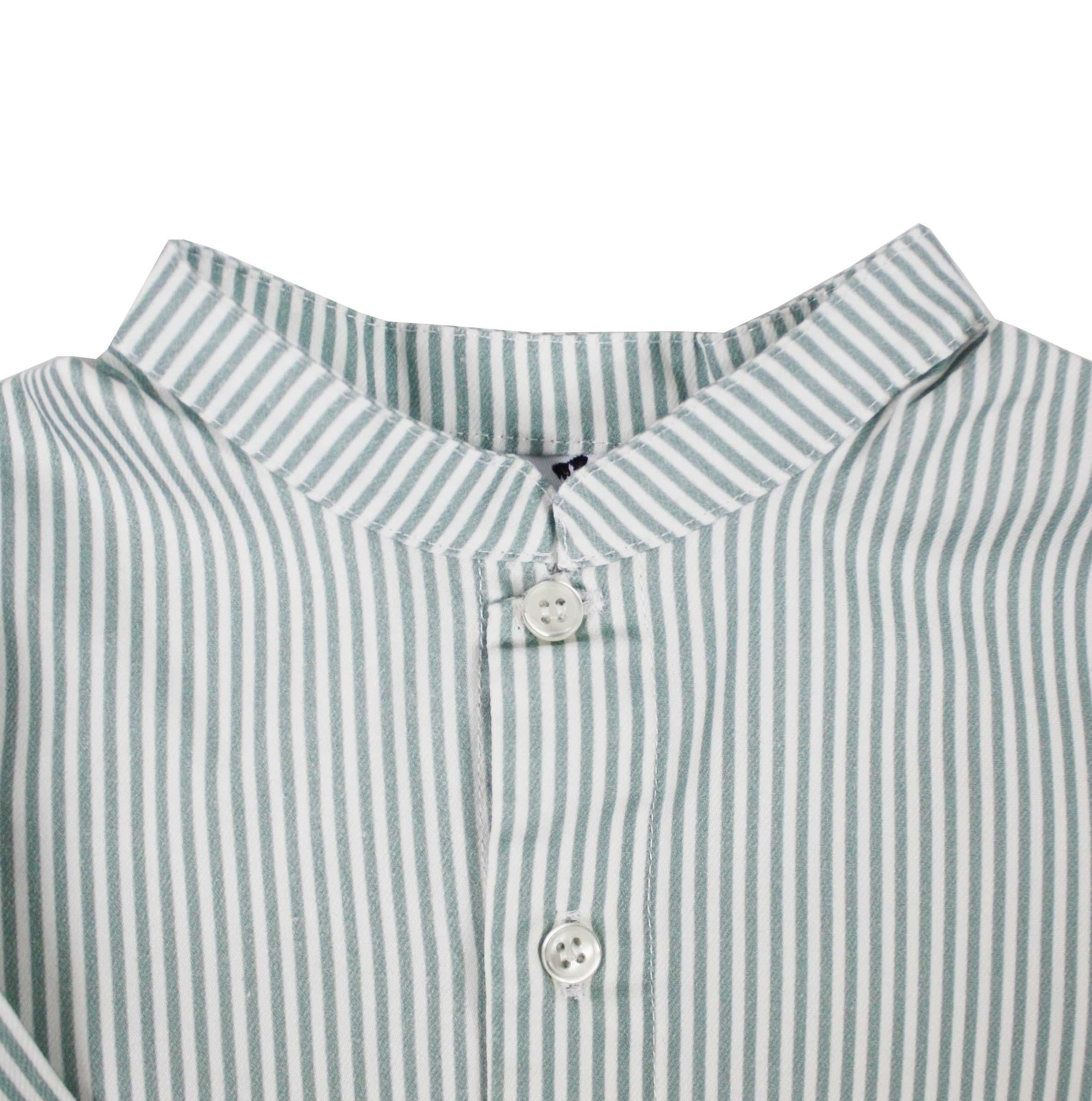 cc3f23fdb1 Camisa niño cuello Mao manga larga raya verde