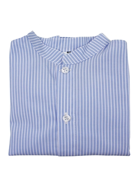 mao shirt blue white stripes