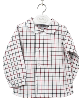 toddler boy shirt green and burgundy plaid