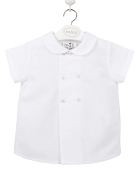 Boy shirt short sleeves white linen