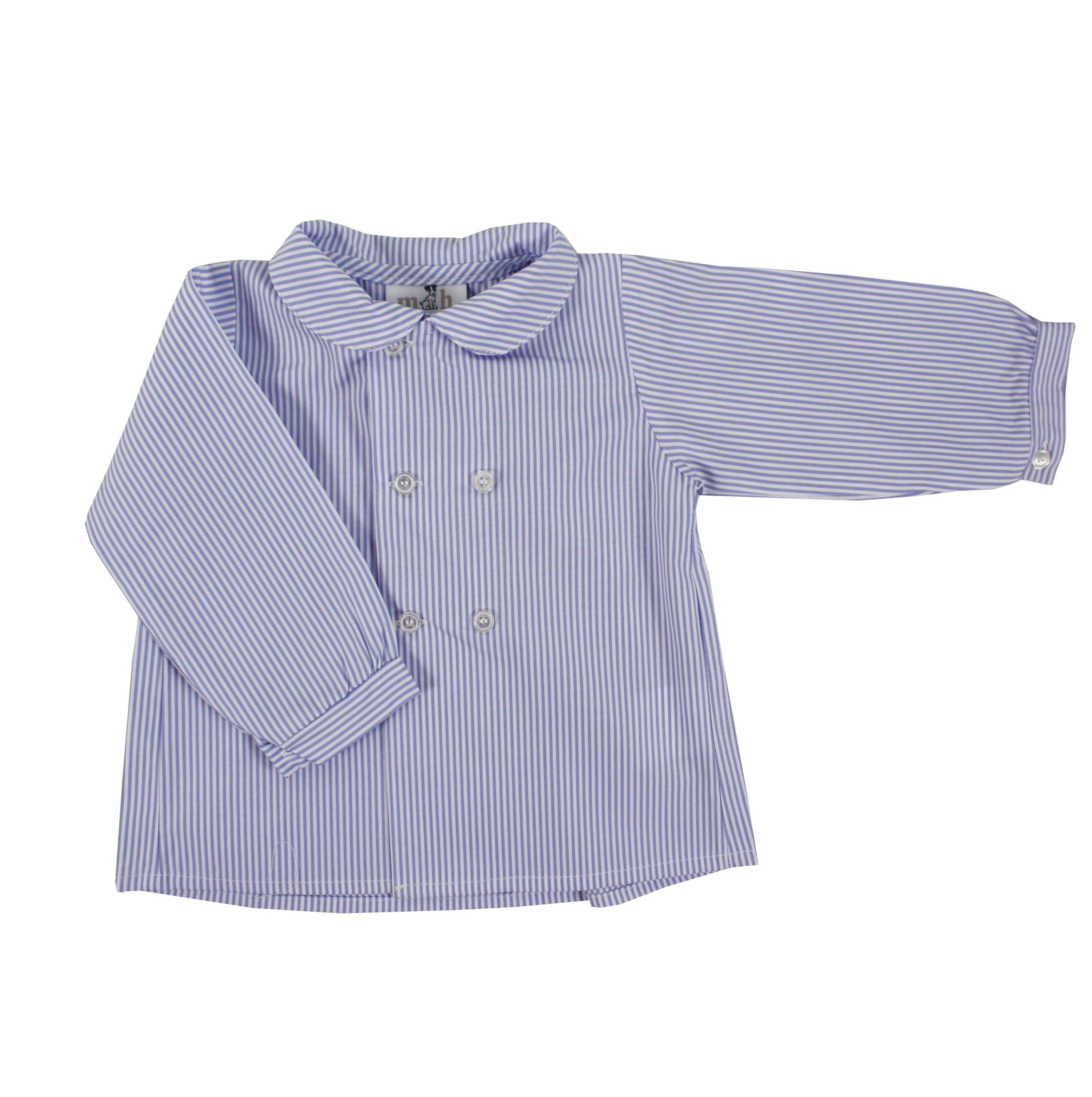 Baby Boy Shirt Long Sleeve Double Buttoning Blue Stripres
