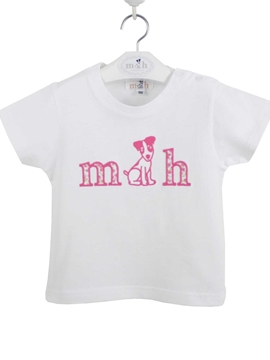 Tshirt cotton white and strawberry pink
