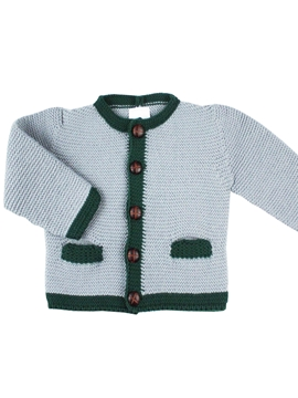 grey and dark green cardigan knit