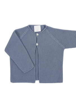 Medium blue knit baby cardigan