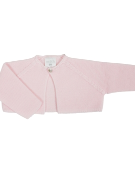 Pink knitted short baby cardigan by m&h