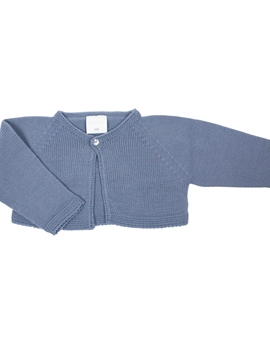 Medium blue short knit baby cardigan with one button
