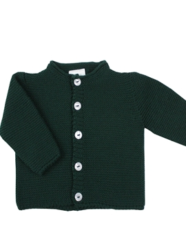 Baby knitted cardigan dark green tone