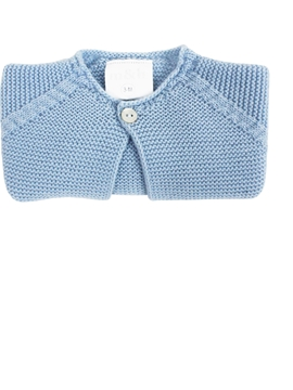 Blue thick knitted short baby cardigan m&h